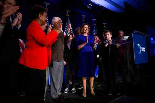 U.S. House Minority Leader Nancy Pelosi reacts alongside fellow House Democrats to the results of the U.S. midterm elections at a Democratic election night rally in Washington, U.S. November 6, 2018. REUTERS/Al Drago - RC12CAFEB860