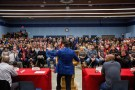 Unifor National President, Jerry Dias, speaks to GM workers at a union meeting near the General Motors' assembly plant in Oshawa, Ontario, Canada November 26, 2018. REUTERS/Carlos Osorio - RC1196CCCEC0