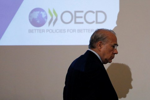 OECD Secretary General Jose Angel Gurria attends a news conference at the Japan National Press Club in Tokyo, Japan April 13, 2017.   REUTERS/Toru Hanai - RC1CAD9AD680