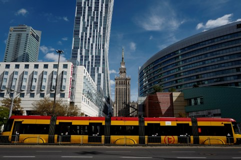 A tram rides through the centre of Warsaw, Poland September 26, 2018. Picture taken September 26, 2018. REUTERS/Kacper Pempel - RC1B11A78720