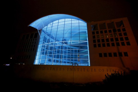 United States Institute of Peace (USIP) in Washington is lit up in blue as part of a United Nations global event to mark the 70th anniversary of the UN's founding October 24, 2015. REUTERS/Yuri Gripas - GF20000031592