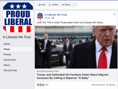Example of a left-leaning foreign Facebook page seeking to influence U.S. elections