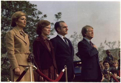 Rosalynn Carter and Jimmy Carter host welcoming ceremony for the state visit of the Shah of Iran and Shahbanou of Iran. Source: U.S. National Archives and Records Administration