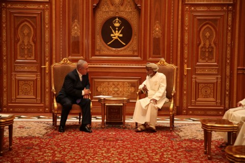 Israel Prime Minister Office Israeli Prime minister Benjamin Netanyahu meets Sultan Qaboos bin Said in this undated handout provided by the Israel Prime Minister Office, in Oman. Israel GPO/Handout via REUTERS ATTENTION EDITORS - THIS PICTURE WAS PROVIDED BY A THIRD PARTY. - RC191FF37EB0