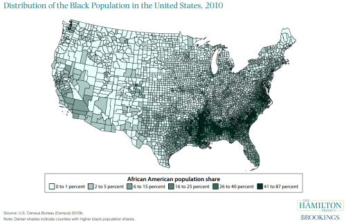 distribution of the black population in the US in 2010