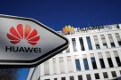 The logo of Huawei Technologies is pictured in front of the German headquarters of the Chinese telecommunications giant in Duesseldorf, Germany, February 18, 2019.    REUTERS/Wolfgang Rattay - RC16C5079E90