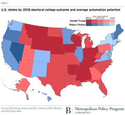US states by 2016 electoral college outcome and average automation potential