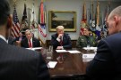 "U.S. President Donald Trump, flanked by Houston High Intensity Drug Trafficking Area (HIDTA) Director Mike McDaniel and Chief of U.S. Border Patrol Carla Provost, holds a briefing on ""drug trafficking on the southern border"" in the Roosevelt Room at the White House in Washington, U.S. March 13, 2019.  REUTERS/Jonathan Ernst - RC1453617A40"