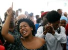 Students sing struggle songs during a gathering as Academic staff and church leaders protest demanding free tertiary education at Johannesburg's University of the Witwatersrand, South Africa, October 7, 2016. REUTERS/Siphiwe Sibeko  - D1AEUFPNKNAA