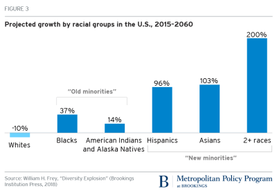 Projected growth by racial groups in the U.S., 2015-2060