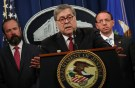 U.S. Attorney General William Barr, flanked by Edward O'Callaghan, Acting Principal Associate Deputy Attorney General (L) and Deputy U.S. Attorney General Rod Rosenstein, speaks at a news conference to discuss Special Counsel Robert Mueller's report on Russian interference in the 2016 U.S. presidential race, in Washington, U.S., April 18, 2019. REUTERS/Jonathan Ernst - RC120324E830