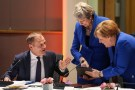 Britain's Prime Minister Theresa May and Germany's Chancellor Angela Merkel look at a tablet next to European Council President Donald Tusk, ahead of a European Council meeting on Brexit at the Europa Building at the European Parliament in Brussels, Belgium April 10, 2019. Kenzo Tribouillard/Pool via REUTERS - RC1158B3A2B0