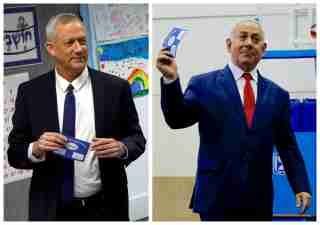 A combination picture shows Benny Gantz (left), leader of Blue and White party voting at a polling station in Rosh Ha'ayin and Israel's Prime Minister Benjamin Netanyahu voting at a polling station in Jerusalem during Israel's parliamentary election April 9, 2019. REUTERS/Nir Elias, Ariel Schalit/Pool via REUTERS - RC122F5D90F0