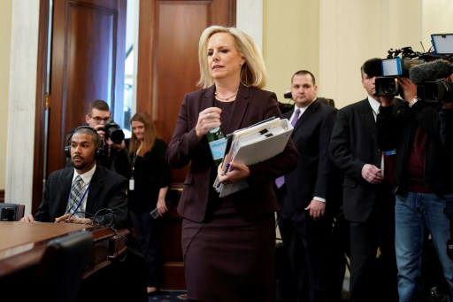 """Department of Homeland Security Secretary Kirstjen Nielsen arrives to testify before a House Homeland Security Committee hearing on  """"The Way Forward on Border Security"""" on Capitol Hill in Washington, U.S., March 6, 2019. REUTERS/Joshua Roberts? - RC15A65A0730"""