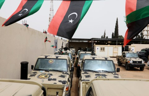 Military vehicles, which were confiscated from Libyan commander Khalifa Haftar's troops, are seen in Zawiyah, west of Tripoli, Libya April 5, 2019. REUTERS/Hani Amara - RC1AF7BBB3C0