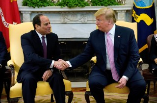 U.S. President Donald Trump meets with Egypt President Abdel Fattah al-Sisi at the White House in Washington, U.S., April 9, 2019.      REUTERS/Kevin Lamarque - RC164B05C010