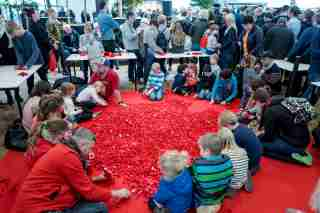 Adults and children play with Lego bricks during the celebrations of the 60th anniversary of the Lego brick, at Lego House in Billund, Denmark January 28, 2018. Scanpix Denmark/Michael Drost-Hansen via REUTERS ATTENTION EDITORS - THIS IMAGE WAS PROVIDED BY A THIRD PARTY. DENMARK OUT. NO COMMERCIAL OR EDITORIAL SALES IN DENMARK. - RC142CA74E00