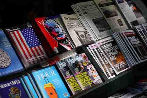 "A news stand outfitted with ""Fake News"" headlines as a stunt pulled off by the Columbia Journalism Review is pictured in the Manhattan borough of New York, New York, U.S., October 30, 2018. REUTERS/Carlo Allegri - RC1A03704C60"