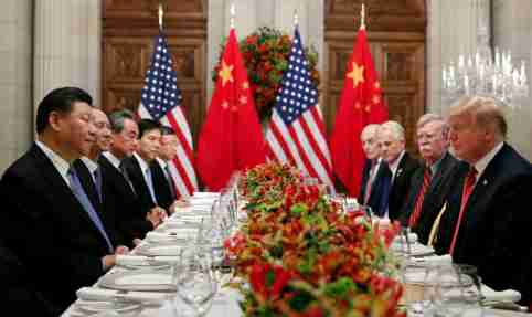 U.S. President Donald Trump, U.S. Secretary of State Mike Pompeo, U.S. President Donald Trump's national security adviser John Bolton and Chinese President Xi Jinping attend a working dinner after the G20 leaders summit in Buenos Aires, Argentina December 1, 2018. REUTERS/Kevin Lamarque - RC12B488DF80