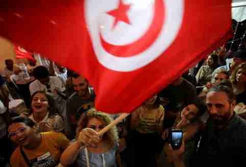 Supporters of detained presidential candidate and Tunisian media mogul Nabil Karoui react after unofficial results of the Tunisian presidential election in Tunis, Tunisia, September 15, 2019. REUTERS/Muhammad Hamed - RC173E0E8170