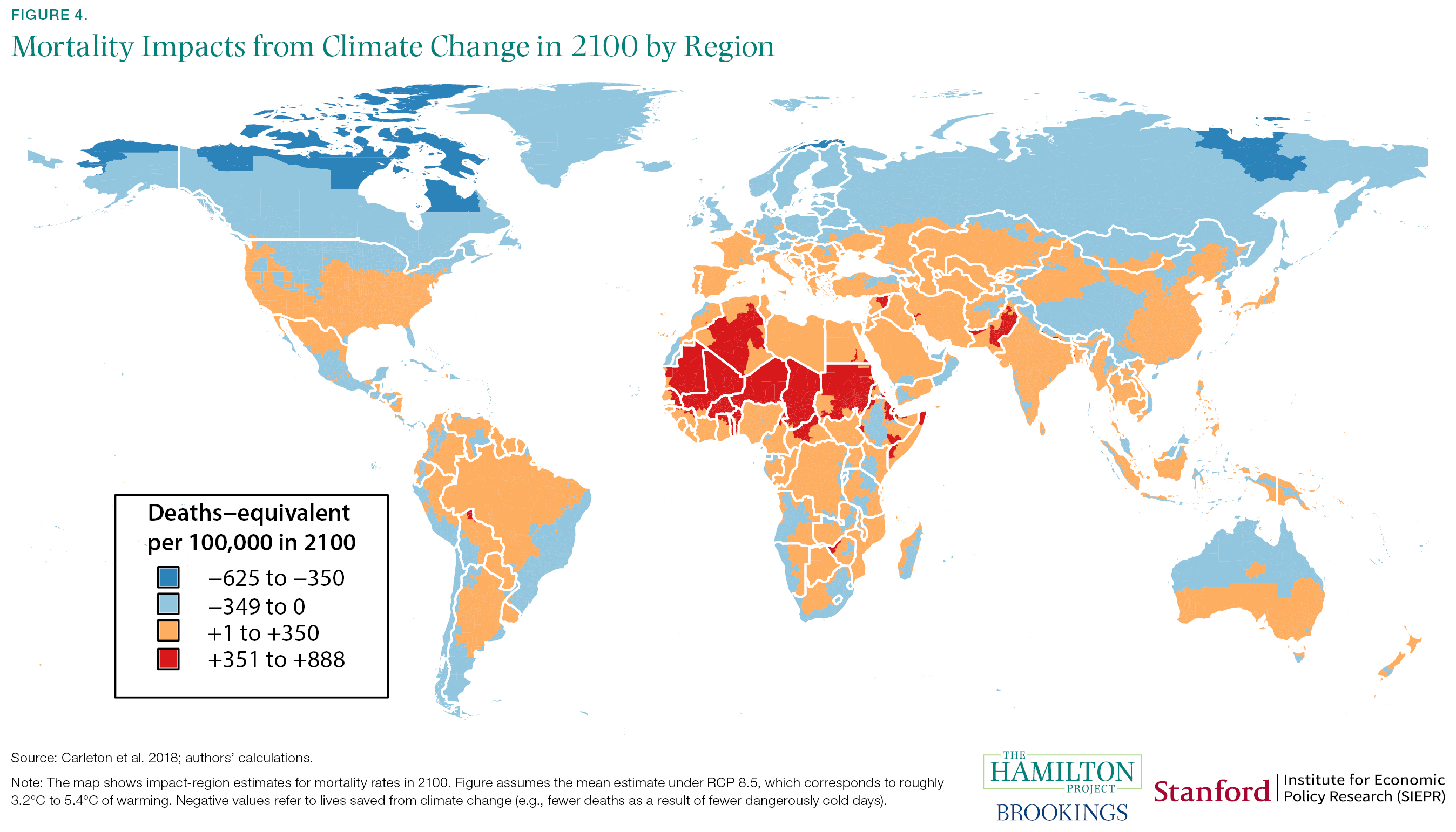 Mortality Impacts from Climate Change in 2100 by Region
