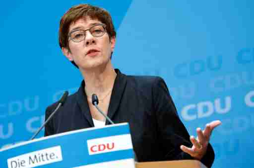 Germany's Christian Democratic Union (CDU) leader and Defence Minister Annegret Kramp-Karrenbauer attends a news conference in Berlin, Germany October 28, 2019. REUTERS/Michele Tantussi - RC14E36E7400