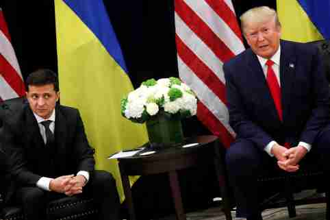 Ukraine's President Volodymyr Zelenskiy listens during a bilateral meeting with U.S. President Donald Trump on the sidelines of the 74th session of the United Nations General Assembly (UNGA) in New York City, New York, U.S., September 25, 2019. REUTERS/Jonathan Ernst - RC1BBB443CF0