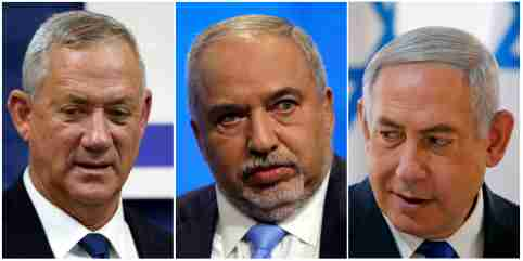 A combination picture shows leader of Blue and White party, Benny Gantz in Rosh Ha'ayin, Israel September 17, 2019, Avigdor Lieberman, head of Yisrael Beitenu party in Tel Aviv, Israel September 5, 2019 and Israeli Prime Minister Benjamin Netanyahu in the Jordan Valley, in the Israeli-occupied West Bank September 15, 2019. REUTERS/Ronen Zvulun, Nir Elias, Amir Cohen - RC17757CDF80