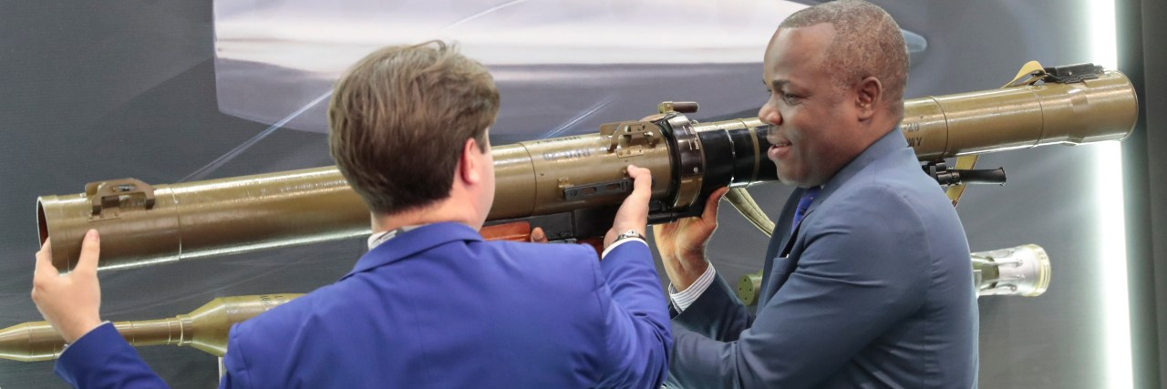 A visitor examines a Russian rocket-propelled grenade launcher RPG-29 during the Russia-Africa Economic Forum Exhibition on the sidelines of the Russia-Africa Summit and Economic Forum in the Black sea resort of Sochi, Russia, October 24, 2019. Sergei Chirikov/Pool via REUTERS - RC1A50BA75C0