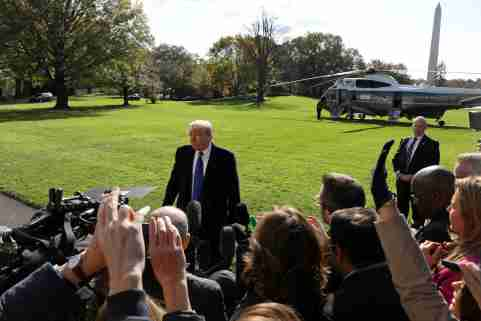 U.S. President Donald Trump speaks to the news media before boarding Marine One to depart for travel to Georgia from the South Lawn of the White House in Washington, U.S., November 8, 2019. REUTERS/Leah Millis - RC247D90BIFM