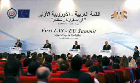 European Commission President Jean-Claude Juncker, European Council President Donald Tusk, Abdel Fattah el-Sisi, President of Egypt and Ahmed Aboul Gheit, Arab League's secretary general, attend a news conference during a summit between Arab league and European Union member states, in the Red Sea resort of Sharm el-Sheikh, Egypt, February 25, 2019. REUTERS/Mohamed Abd El Ghany - RC1A493D83D0