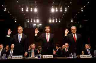 Deputy Assistant Attorney General Adam Hickey, Bill Priestap, assistant director of the FBI's Counterintelligence Division, and Justice Department Inspector General Michael Horowitz are sworn in during a Judiciary Committee hearing into alleged Russian meddling in the 2016 election on Capitol Hill in Washington, U.S., July 26, 2017. REUTERS/Aaron P. Bernstein - RC14DA9ED4D0