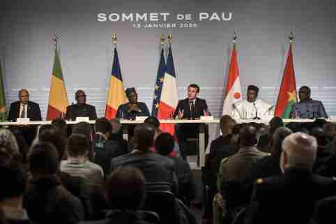 French President Emmanuel Macron (3-R), flanked by Mali's President Ibrahim Boubacar Keita (2-L), Burkina Faso's President Roch Marc Christian Kabore (R), Niger President Mahamadou Issoufou (2-R), Mauritania's President Mohamed Ould Cheikh El Ghazouani (L) and Chad's President Idriss Deby (3-R), speaks during a press conference as part of the G5 Sahel summit on the situation in the Sahel region at the Chateau de Pau in Pau, France, January 13, 2020. Photo by Quentin Top/Pool/ABACAPRESS.COM
