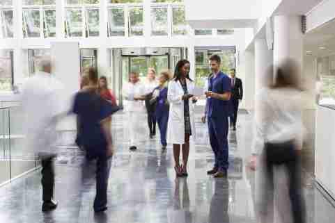 busy hospital lobby
