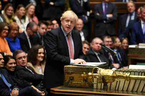 FILE PHOTO: Britain's Prime Minister Boris Johnson speaks during a lawmakers meeting to elect a speaker, in London, Britain December 17, 2019. ©UK Parliament/Jessica Taylor/Handout via REUTERS THIS IMAGE HAS BEEN SUPPLIED BY A THIRD PARTY./File Photo