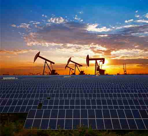 Oil rigs and solar panels