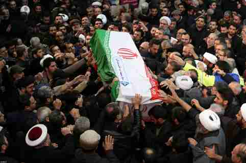 Iranian people carry a coffin of Iranian Major-General Qassem Soleimani, head of the elite Quds Force, who was killed in an air strike at Baghdad airport, during a funeral procession in Tehran, Iran January 6, 2020. Official Khamenei website/Handout via REUTERS ATTENTION EDITORS - THIS IMAGE WAS PROVIDED BY A THIRD PARTY. NO RESALES. NO ARCHIVES