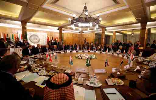 A general view shows a meeting of the Arab League's foreign ministers after U.S. President Donald Trump announced his Middle East peace plan, in Cairo, Egypt, February 1, 2020. REUTERS/Mohamed Abd El Ghany