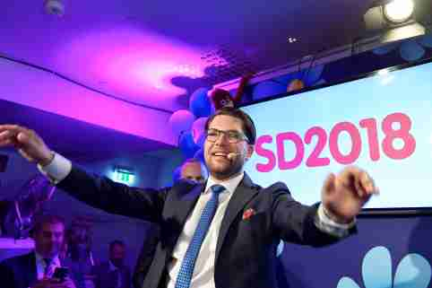 Sweden Democrats party leader Jimmie Akesson speaks on election evening at Kristallen restaurant in central Stockholm, Sweden September 9, 2018. TT News Agency/Anders Wiklund/via REUTERS      ATTENTION EDITORS - THIS IMAGE WAS PROVIDED BY A THIRD PARTY. SWEDEN OUT. NO COMMERCIAL OR EDITORIAL SALES IN SWEDEN.