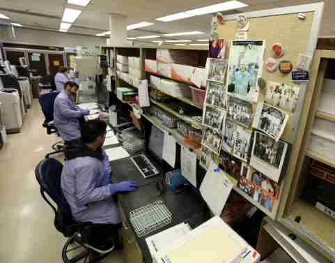 March 17, 2020; Detroit, MI, USA; Work goes on inside the pathology and laboratory medicine labs at the Henry Ford Hospital on W. Grand Blvd in Detroit , Michigan on Tuesday, March 17, 2020 where testing is happening for patients to see if they are positive or negative for the Coronavirus COVID-19. Mandatory Credit: Eric Seals/Detroit Free Press via USA TODAY NETWORK