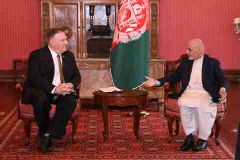 Afghanistan's President Ashraf Ghani (R) meets with U.S. Secretary of State Mike Pompeo in Kabul, Afghanistan March 23, 2020. Afghan Presidential Palace/Handout via REUTERS     THIS IMAGE HAS BEEN SUPPLIED BY A THIRD PARTY. NO RESALES. NO ARCHIVES