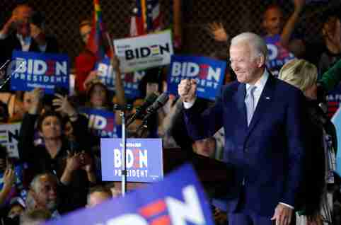 Democratic U.S. presidential candidate and former Vice President Joe Biden addresses supporters at his Super Tuesday night rally in Los Angeles, California, U.S., March 3, 2020. REUTERS/Mike Blake