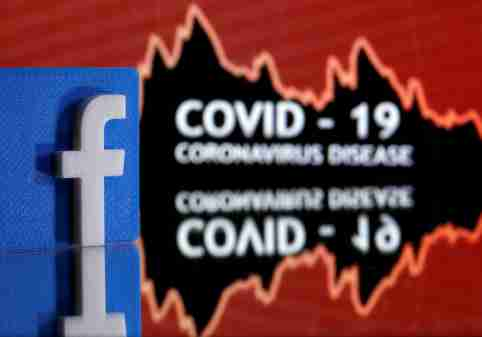 A 3D printed Facebook logo is seen in front of displayed coronavirus disease (COVID-19) words in this illustration taken March 24, 2020. Picture taken March 24, 2020. REUTERS/Dado Ruvic/Illustration