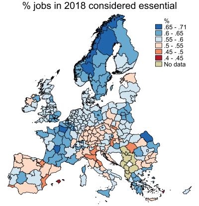 Figure 1. Percent of jobs considered essential, European Union, Norway, and Switzerland, 2018