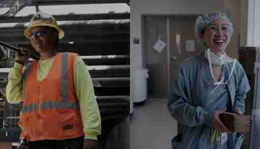 Female construction worker and doctor