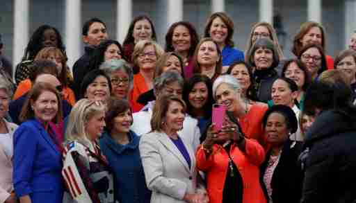 U.S. House Speaker Nancy Pelosi (D-CA) poses for a selfie with House Democratic women of the 116th Congress