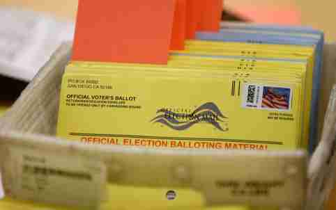 Mail-in ballots wait to be verified at the San Diego County Elections Office in San Diego, California, U.S., November 7, 2016.       REUTERS/Mike Blake