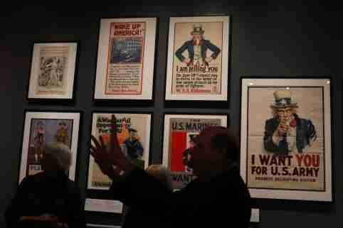 Posters are seen during the media preview for exhibition of wartime propaganda artistry 'Posters and Patriotism: Selling World War I in New York' at the Museum of the City of New York in New York, U.S., April 4, 2017. Picture taken April 4. REUTERS/Shannon Stapleton