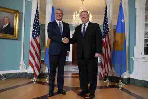 US Department of State Secretary Mike Pompeo(right) and  Kosovo President Hashim Thaci(left) hold a meeting today on February 26, 2020 at the Department of State in Washington DC, USA. (Photo by Lenin Nolly/Sipa USA)No Use UK. No Use Germany.