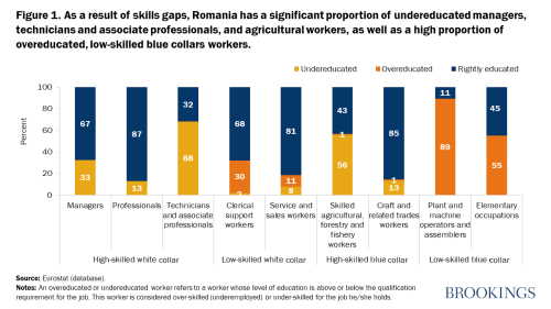 As a result of skills gaps, Romania has a significant proportion of undereducated managers, technicians and associate professionals, and agricultural workers, as well as a high proportion of overeducated, low-skilled blue collars workers.